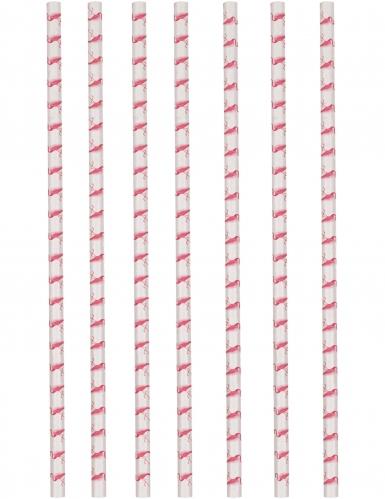 12 cannucce in cartone bianche con fenicotteri