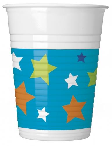 8 bicchieri in plastica Happy Birthday blu