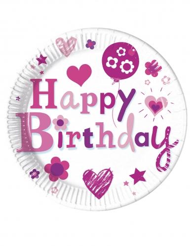 8 piatti in cartone Happy Birthday rosa 23 cm