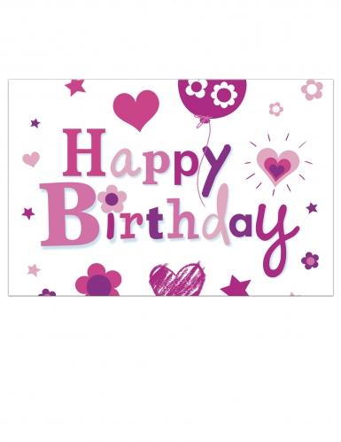 Tovaglia in plastica Happy Birthday rosa