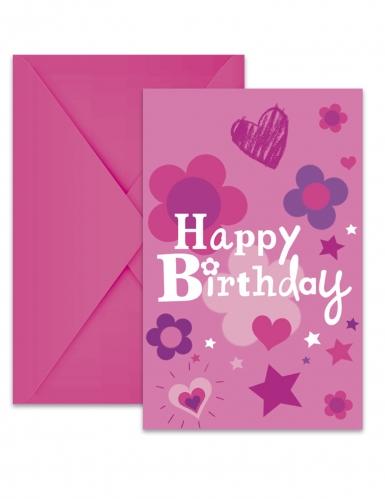 6 inviti di compleanno con buste Happy Birthday rosa