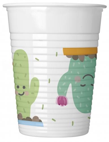 8 bicchieri in plastica piccoli cactus