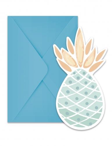6 inviti per festa ananas pastello
