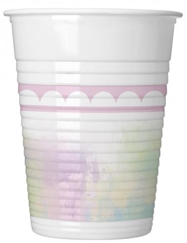8 bicchieri di plastica unicorno rosa e pastello