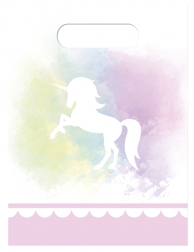 6 sacchetti regalo unicorno rosa e pastello