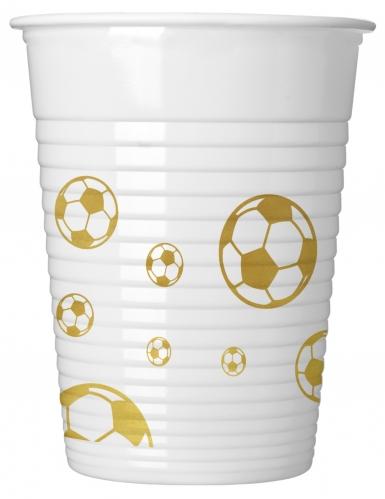 8 bicchieri di plastica pallone calcio oro
