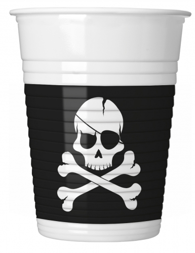 8 bicchieri in plastica teschio nero