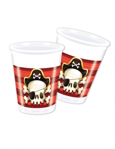 8 bicchieri in plastica teschio pirata