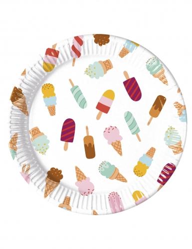 8 piatti in cartone passione gelato 23 cm