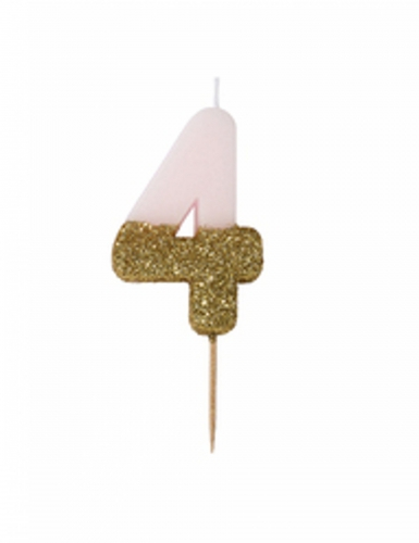 Candelina numero 4 rosa e oro