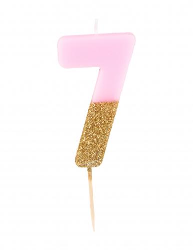 Candelina numero 7 rosa e oro