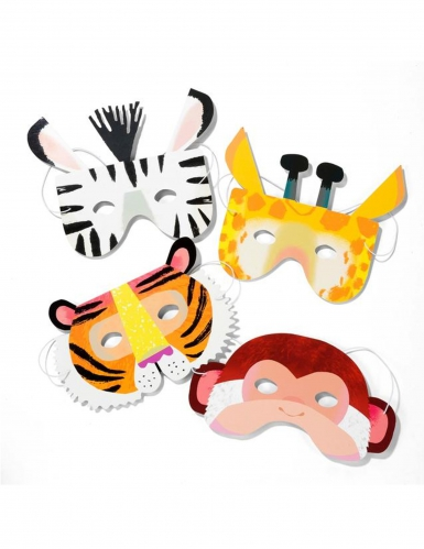 8 maschere in cartone animali della giungla