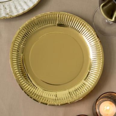 8 piatti in cartone dorati 23 cm-1