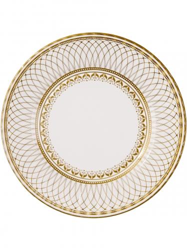 8 grandi piatti in cartone geometria oro e bianca 28 cm