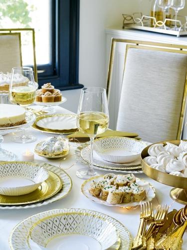 8 grandi piatti in cartone geometria oro e bianca 28 cm-1