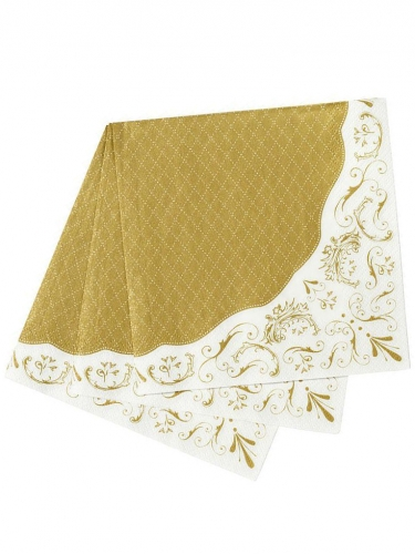20 tovaglioli di carta stile porcellana bianco e oro-1