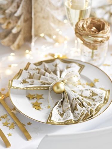 20 tovaglioli di carta stile porcellana bianco e oro-2