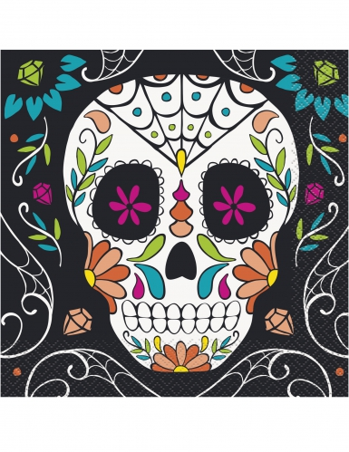 20 tovaglioli di carta teschi Day of the Dead