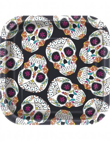 10 piattini quadrati in cartone Day of the Dead 18 cm
