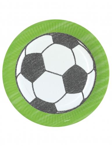8 piatti di cartone calcio verdi con pallone 23 cm