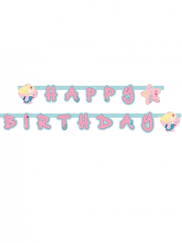 Ghirlanda Happy Birthday sirenetta in cartone