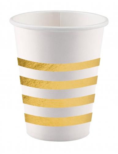 8 bicchieri in cartone Cheers bianchi e oro