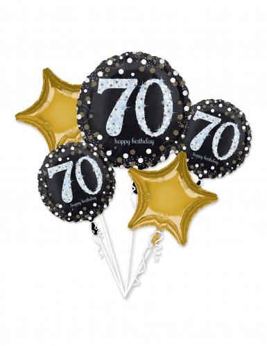 5 palloncini alluminio 70 anni nero e oro