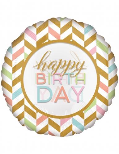 Palloncino gigante oro e pastello Happy Birthday