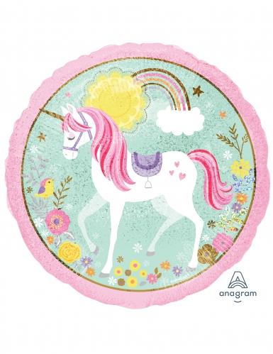 Palloncino in alluminio rotondo rosa con unicorno