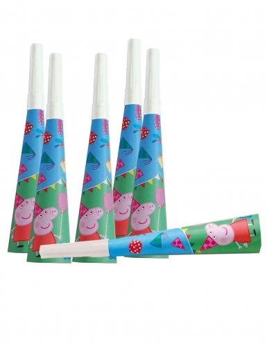 6 trombette in cartone blu Peppa Pig™