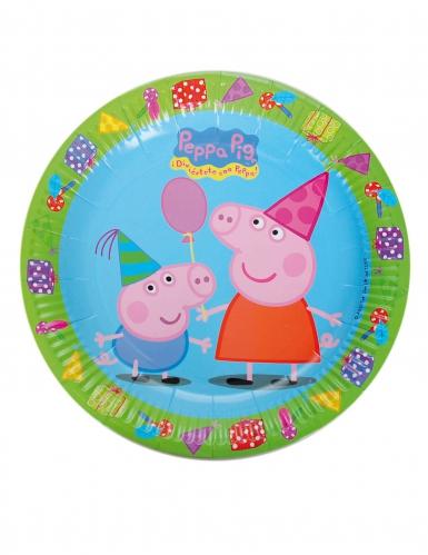 8 piatti verdi e blu in cartone Peppa Pig™ 23 cm