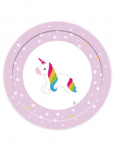 8 piatti in cartone unicorno bianco 23 cm
