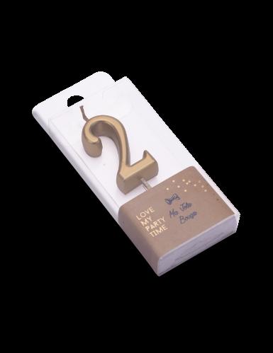 Candelina color oro metellizzato numero 2