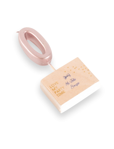 Candelina color oro rosa numero 0