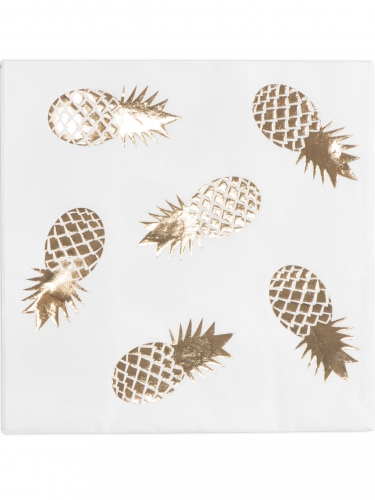 16 tovaglioli di carta bianchi con ananas dorati