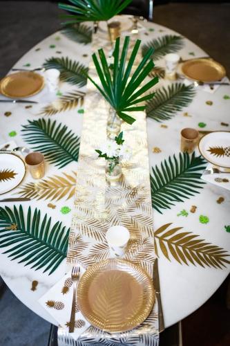 Runner da tavola in lino beige palme oro-2