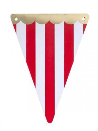 5 gagliardetti circo bordo oro e righe rosse
