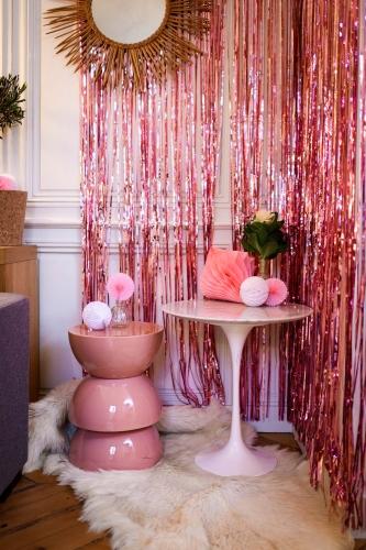 Tenda di frange scintillante oro rosa-1