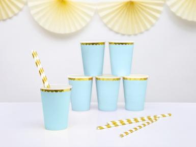 6 bicchieri in cartone celesti bordo oro-2