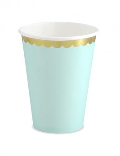 6 bicchieri in cartone color menta bordo oro