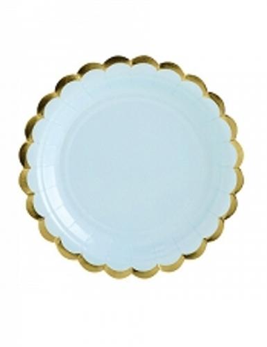 6 piattini in cartone celesti bordo oro 18 cm