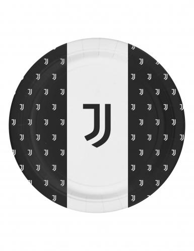 8 piatti Juventus™ nero e bianchi