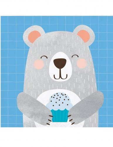 16 tovagliolini di carta piccolo orso grigio