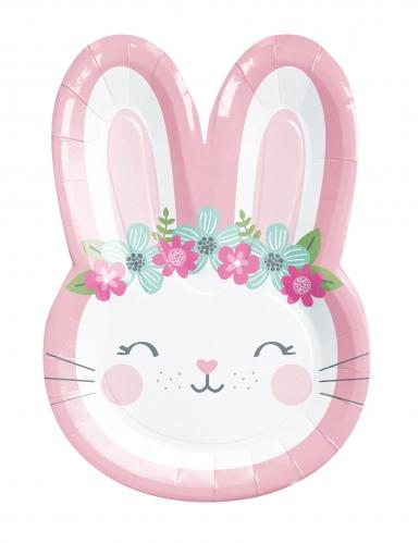 8 piatti in cartone coniglio bianco e rosa