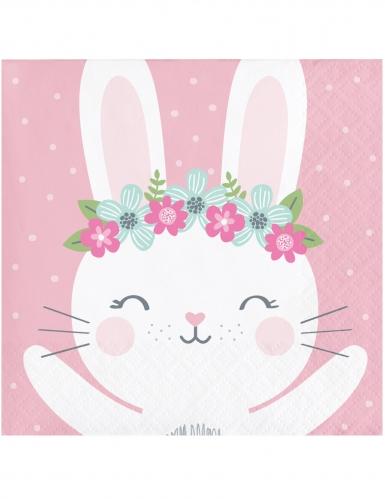 16 mini tovaglioli di carta rosa coniglio