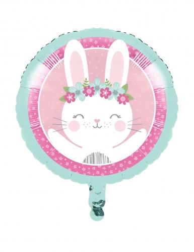 Palloncino in alluminio coniglio bianco e rosa