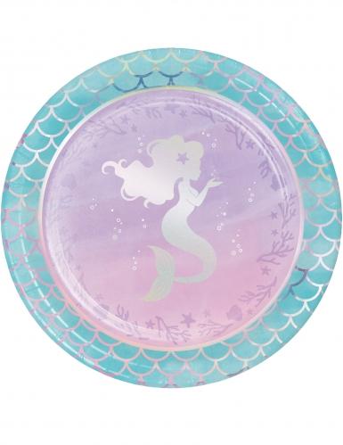 8 piatti in cartone sirena iridescente 23 cm