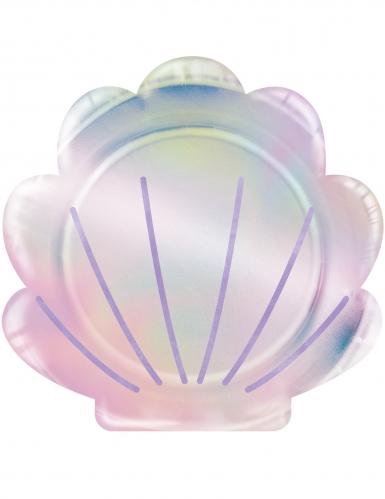 8 piatti iridescenti a forma di conchiglia 23 cm