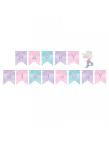 Ghirlanda in cartone Happy Birthday sirena iridescente