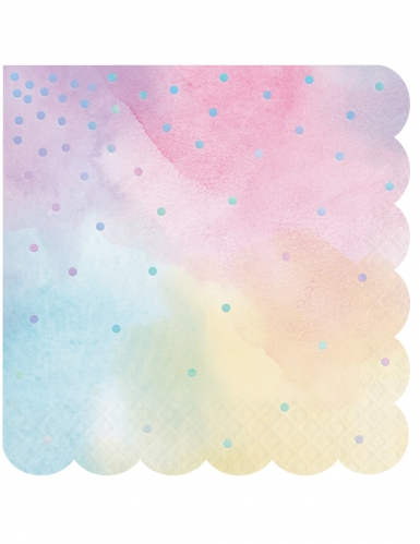 16 tovaglioli in carta multicolor pois iridescenti